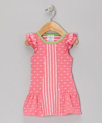 Pink & Green Stripe Ruffle Heart Dress - Infant