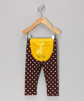 Brown & Yellow Polka Dot Giraffe Leggings - Infant & Toddler