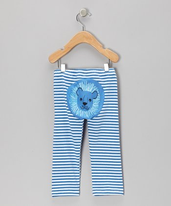 Blue & White Stripe Lion Pants - Infant