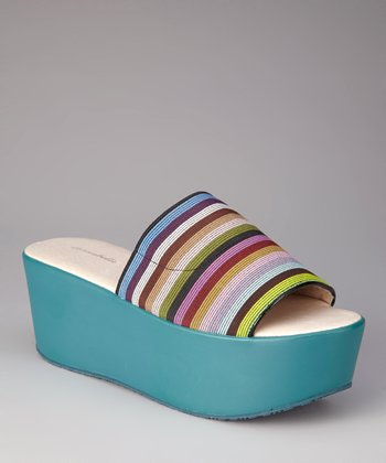Blue Stripe Cathy Platform Slide