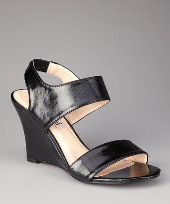 Black Patent Sammy Wedge