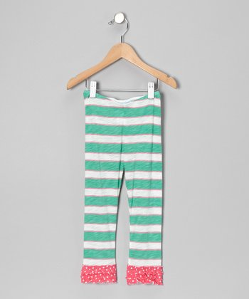 Green & Pink Stripe Leggings - Toddler & Girls