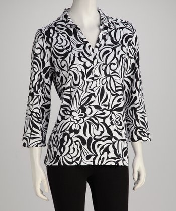 Black & White Swirling Bloom Polo - Women, Petite & Plus