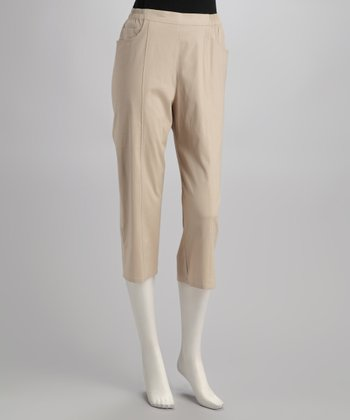 Khaki Cropped Pants - Petite, Women & Plus