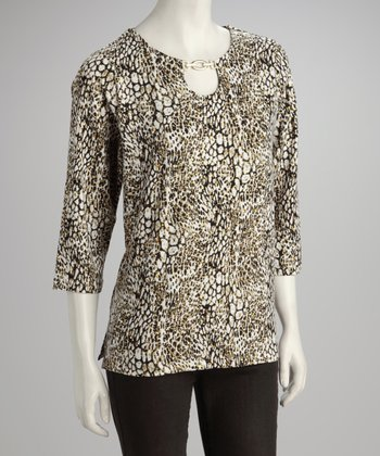Olive Animal Top - Petite, Women & Plus