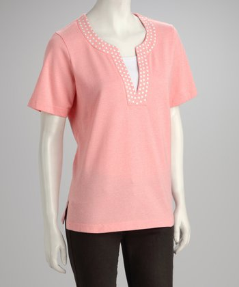 Coral Embroidered Top - Petite & Plus