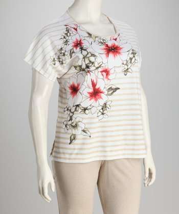 Tan Stripe Floral Top - Petite, Women & Plus