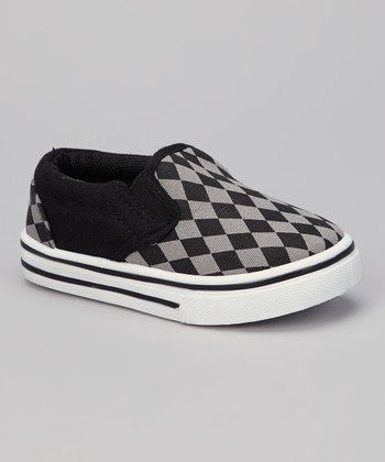 Black & Gray Diamond Slip-On Shoe
