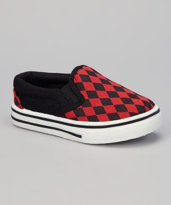 Black & Red Diamond Slip-On Shoe