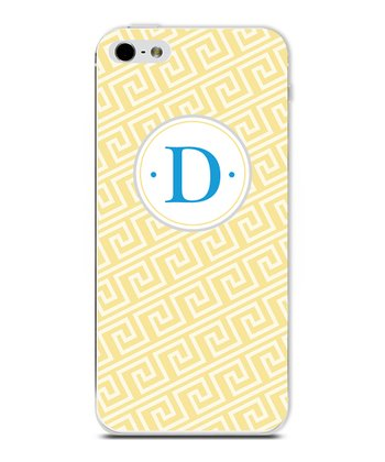 Yellow Beach Wave Initial Case for iPhone 4/4S
