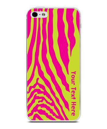 Hot Pink & Lime Zebra Personalized Case for iPhone 4/4S