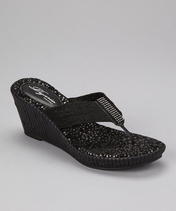 Black Imperial Wedge Sandal