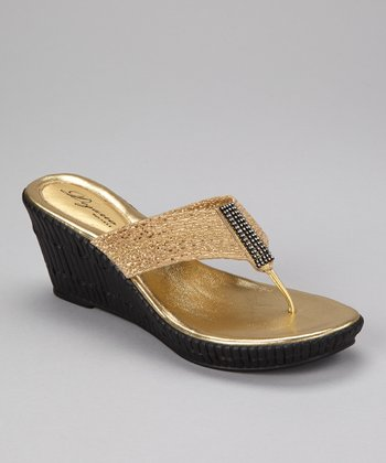 Gold Imperial Wedge Sandal