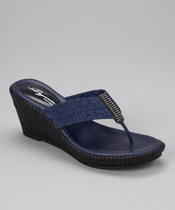 Navy Imperial Wedge Sandal