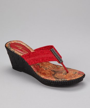Red Imperial Wedge Sandal