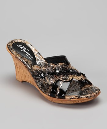Black Aria Wedge Sandal