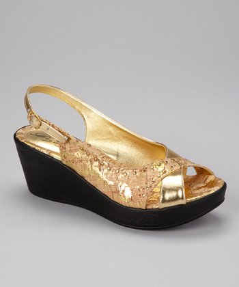 Gold Roma Slingback Wedge