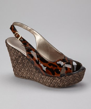 Brown & Black Animal Jaden Slingback Wedge