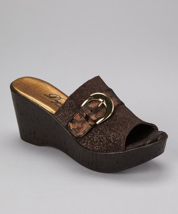 Brown Belle Peep-Toe Clog