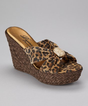 Brown Leopard Kite Wedge Sandal