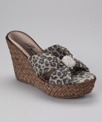 Gray Leopard Kite Wedge Sandal