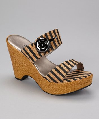 Black Stripe Button Wedge