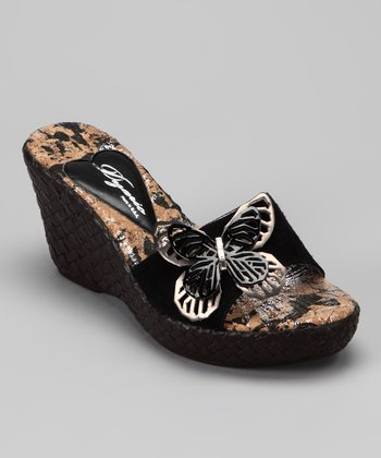 Black Fly Wedge Sandal