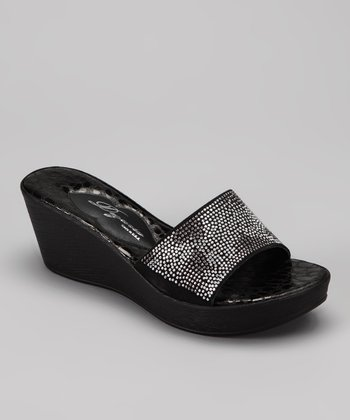 Black Verona Wedge Sandal