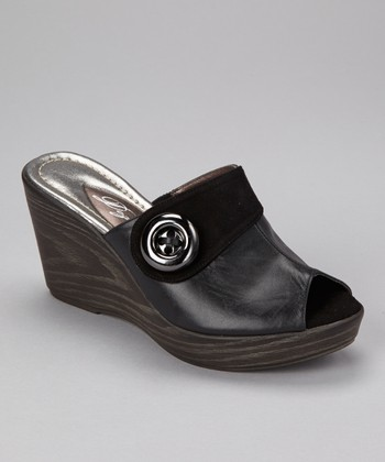 Black Princess Peep-Toe Wedge