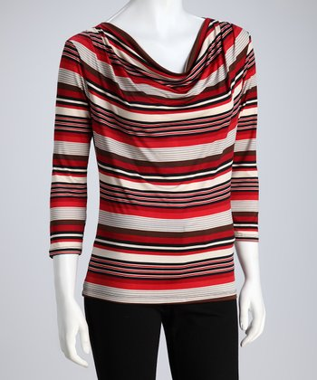 Red & Gray Stripe Drape Top