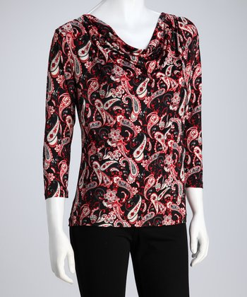 Red & Black Paisley Drape Top