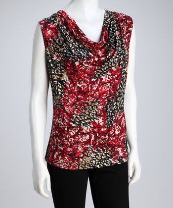 Red & Black Abstract Sleeveless Drape Top