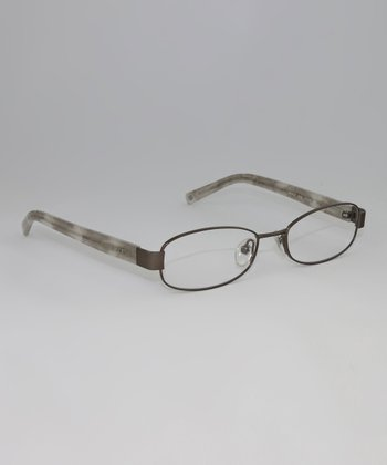 Satin Taupe Marbled Oval Glasses