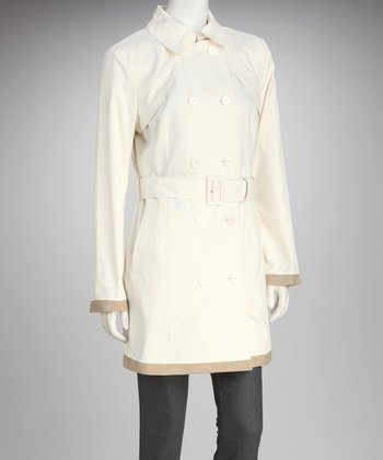 Anne Klein Ivory & Flax Trim Trench Coat
