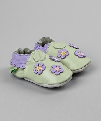 Green Flowered Soft-Sole Shoe