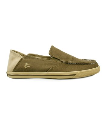 Olive Green Boardwalk Backdrop Slip-On Sneaker