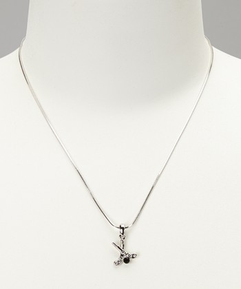 Clear Hockey Stick Mini Pendant Necklace