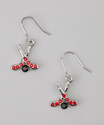 Red Hockey Stick Drop Earrings