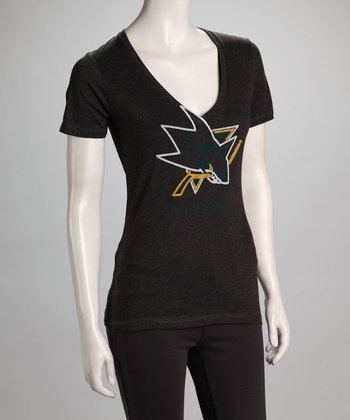 Charcoal San Jose Sharks Glow V-Neck Tee - Women
