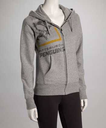 Gray Pittsburgh Penguins Zip-Up Hoodie - Women