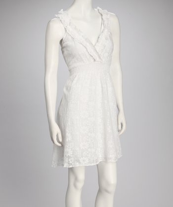 White Lace Empire-Waist Dress