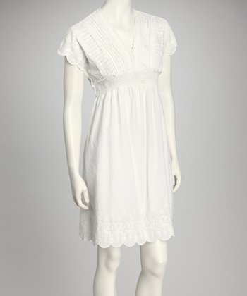 White Scallop Empire-Waist Dress