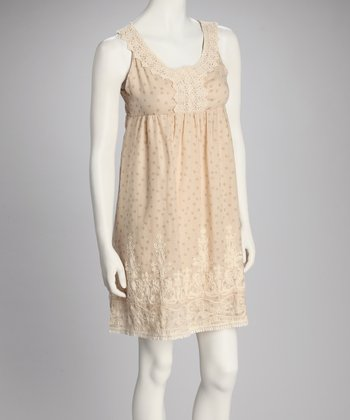 Beige Linen-Blend Empire-Waist Dress