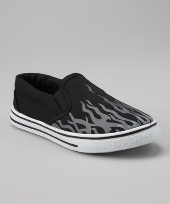 Black & Gray Flame Slip-On Sneaker