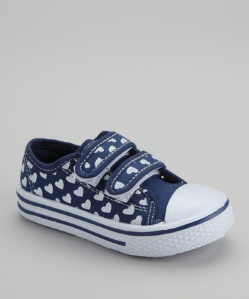 White & Navy Hearts Sneaker