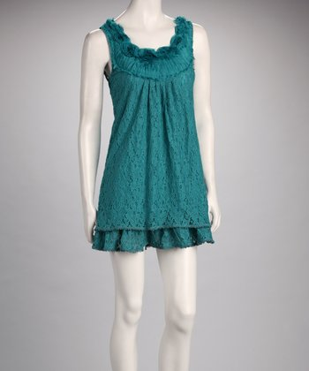 Teal Lace Rosette Sleeveless Dress
