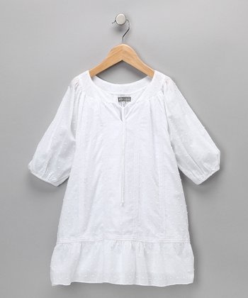 White Bohemian Swiss Dot Dress - Toddler & Girls