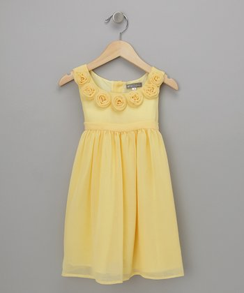 Yellow Rose Silk Chiffon Babydoll Dress - Infant