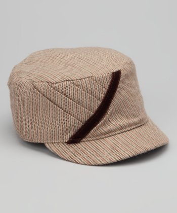 Tan Lil Monique Wool-Blend Military Cap