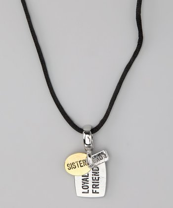 Silver & Gold 'Sister' Dog Tag Necklace